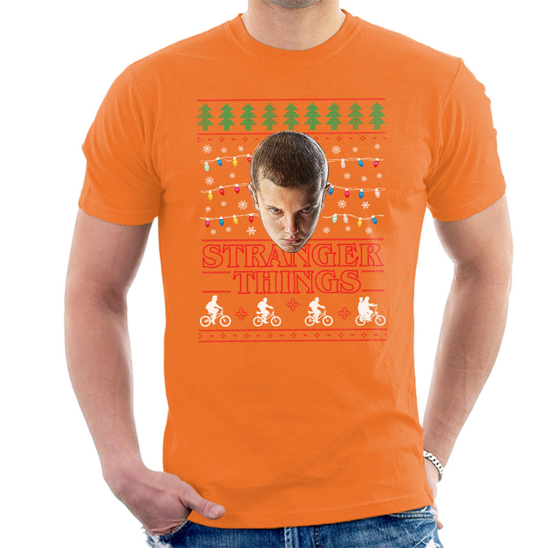 Stranger Things Eleven Christmas Lights Knit Men's T-Shirt by Punksthetic - Cloud City 7