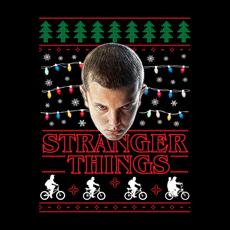 Stranger Things Eleven Christmas Lights Knit Men's Baseball Long Sleeved T-Shirt by Punksthetic - Cloud City 7