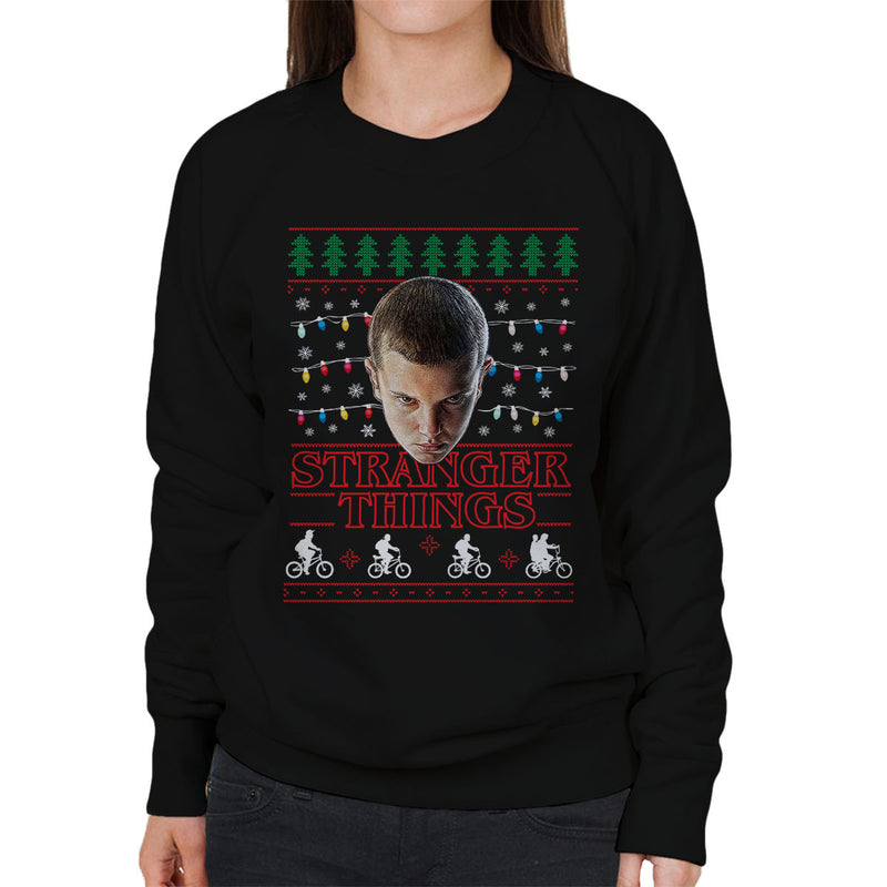 Stranger Things Eleven Christmas Lights Knit Women's Sweatshirt