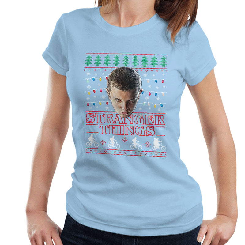Stranger Things Eleven Christmas Lights Knit Women's T-Shirt by Punksthetic - Cloud City 7