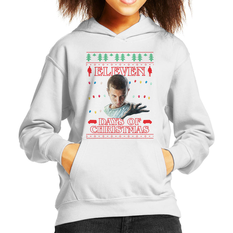 Stranger Things Eleven Days Of Christmas Knit Kid's Hooded Sweatshirt by Punksthetic - Cloud City 7