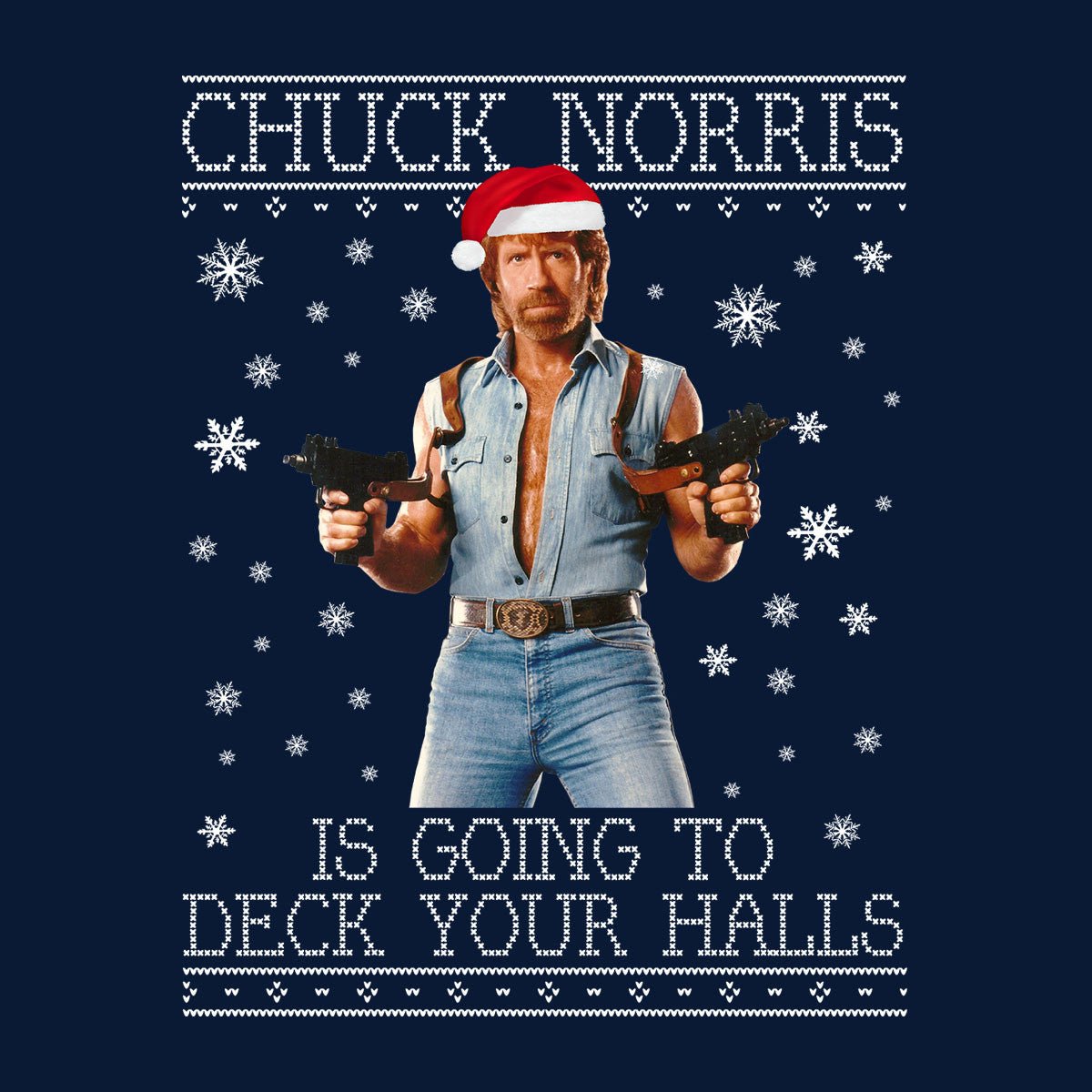 Chuck Norris Deck Your Halls Christmas Knit