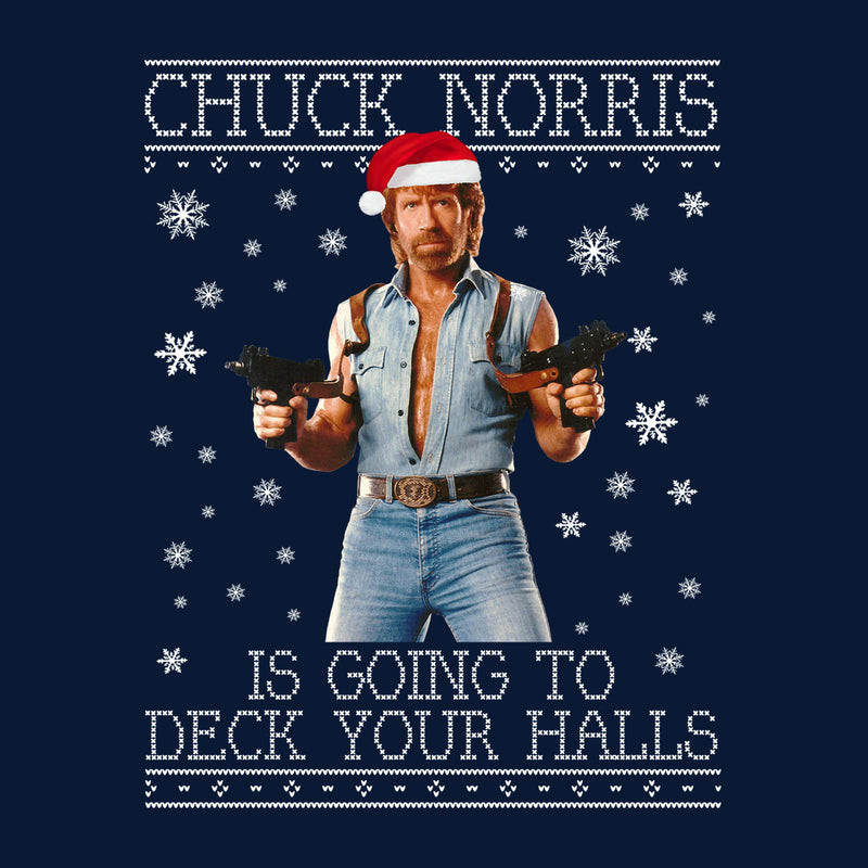 Chuck Norris Deck Your Halls Christmas Knit Men's Sweatshirt by Punksthetic - Cloud City 7