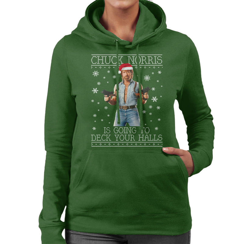 Chuck Norris Deck Your Halls Christmas Knit Women's Hooded Sweatshirt by Punksthetic - Cloud City 7