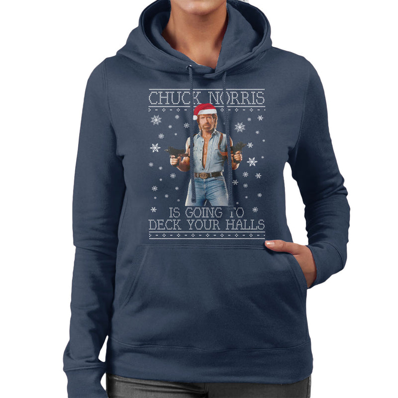 Chuck Norris Deck Your Halls Christmas Knit Women's Hooded Sweatshirt