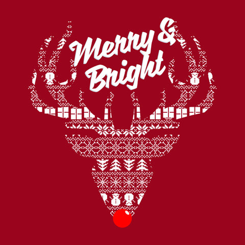 Reindeer Merry And Bright Christmas Knit
