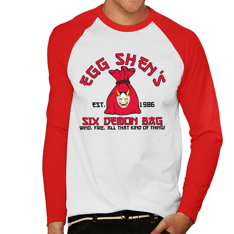 Egg Shens Six Demon Bag Big Trouble In Little China Men's Baseball Long Sleeved T-Shirt