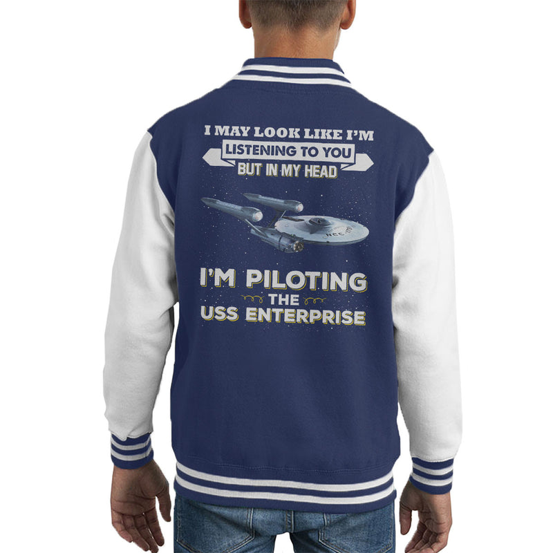 I May Look Like USS Enterprise Star Trek Kid's Varsity Jacket by Pheasant Omelette - Cloud City 7