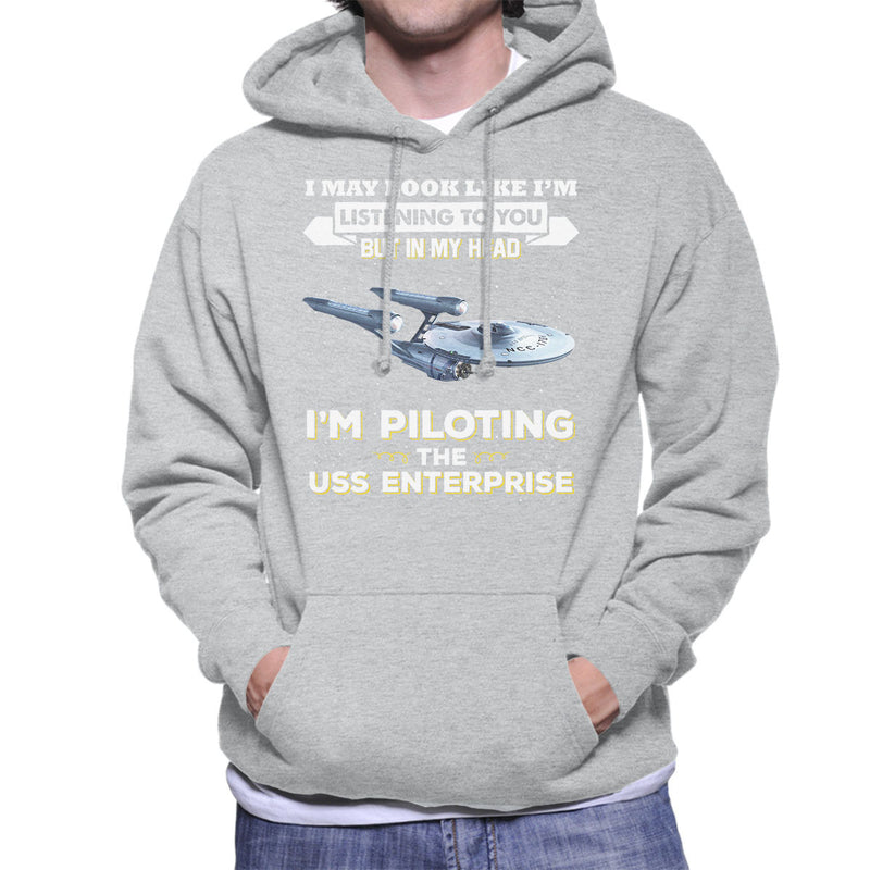 I May Look Like USS Enterprise Star Trek Men's Hooded Sweatshirt by Pheasant Omelette - Cloud City 7