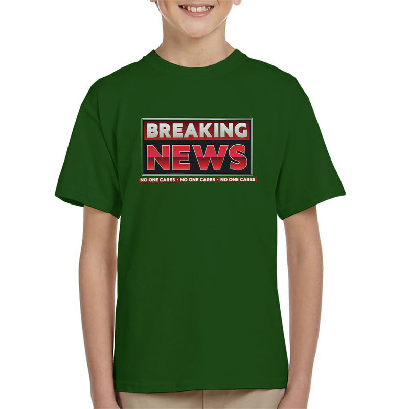 Breaking News No One Cares Kid's T-Shirt by Create Or Destroy - Cloud City 7