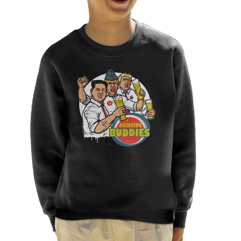World Leader Drinking Buddies Putin Trump Kim Jong Un Kid's Sweatshirt by AndreusD - Cloud City 7