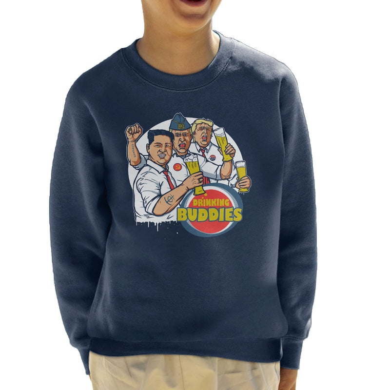 World Leader Drinking Buddies Putin Trump Kim Jong Un Kid's Sweatshirt