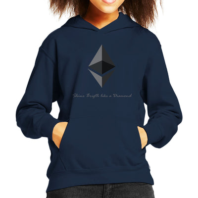 Ethereum Cryptocurrency Shine Bright Like A Diamond Kid's Hooded Sweatshirt by AndreusD - Cloud City 7