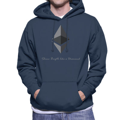 Ethereum Cryptocurrency Shine Bright Like A Diamond Men's Hooded Sweatshirt by AndreusD - Cloud City 7