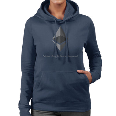 Ethereum Cryptocurrency Shine Bright Like A Diamond Women's Hooded Sweatshirt by AndreusD - Cloud City 7