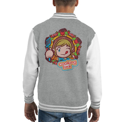 Cooking Mama Legend Of Zelda Cooking With Link Kid's Varsity Jacket by Retro Freak - Cloud City 7