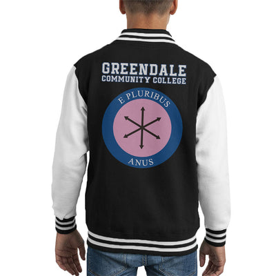 Community Greendale College E Pluribus Anus Kid's Varsity Jacket by Retro Freak - Cloud City 7
