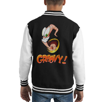 Earthworm Jim Groovy Kid's Varsity Jacket by Retro Freak - Cloud City 7