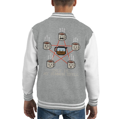 Coffee Is How To Summon Me Pentagram Kid's Varsity Jacket by Retro Freak - Cloud City 7