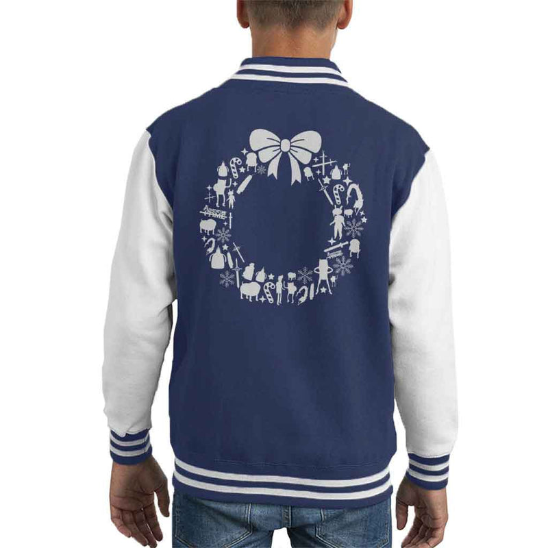 Adventure Time Christmas Wreath Pattern Kid's Varsity Jacket by Stroodle Doodle - Cloud City 7