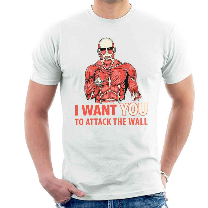 Attack On Titan I Want You To Attack The Wall Men's T-Shirt by Paula Garcia - Cloud City 7
