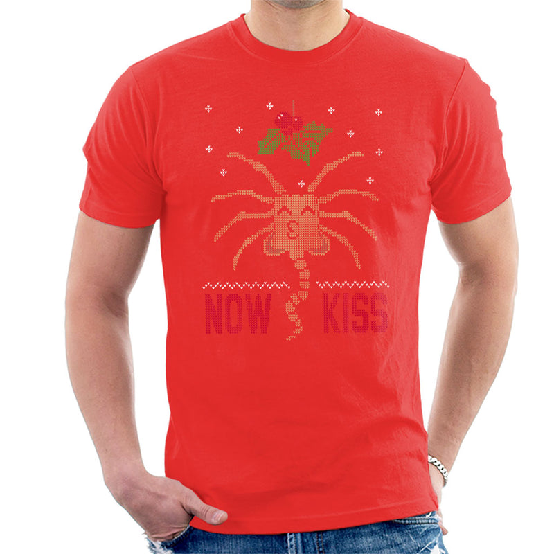 Alien Facehugger Mistletoe Now Kiss Christmas Knit Pattern Mens T