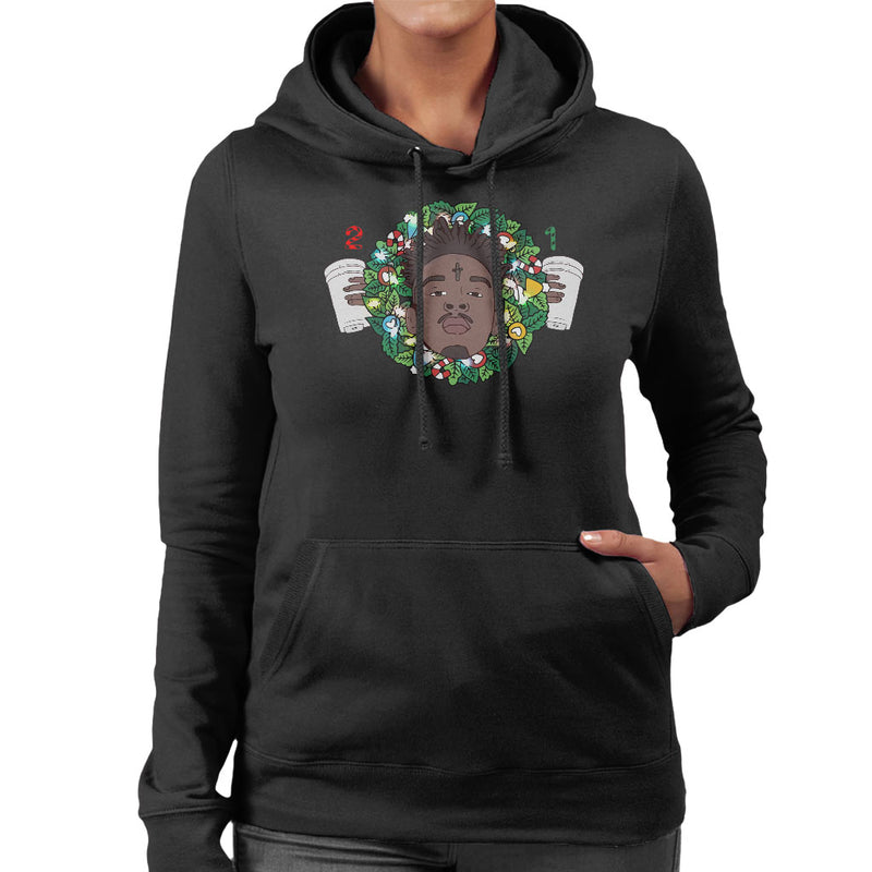 21 Savage Christmas.21 Savage Christmas Wreath Women S Hooded Sweatshirt