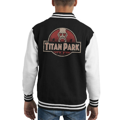 Attack On Titan Jurassic Park Mix Kid's Varsity Jacket by Pigboom - Cloud City 7