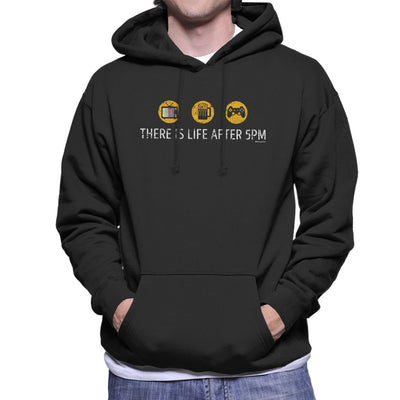 There Is Life After 5pm Men's Hooded Sweatshirt by OfficeGeekShop - Cloud City 7