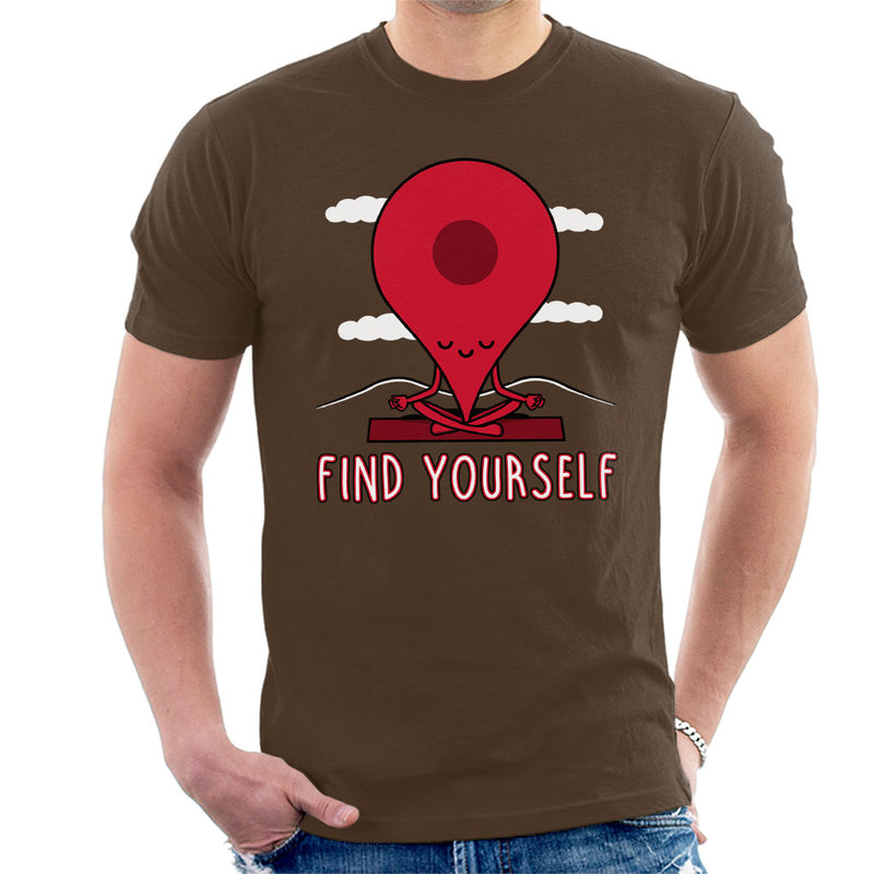 Google Maps Pin Fin Yourself Men's T-Shirt by Raffiti - Cloud City 7