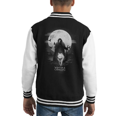 Game Of Thrones Moonlight John Snow And Ghost Kid's Varsity Jacket by BlancaVidal - Cloud City 7