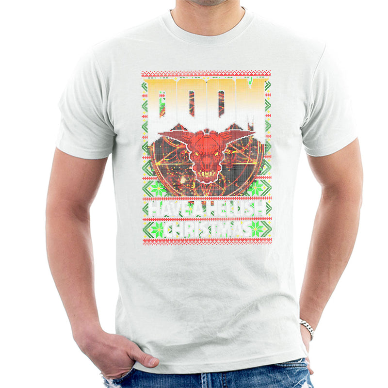 Doom Have A Hellish Christmas Knit Pattern Men's T-Shirt by HappyLlama - Cloud City 7