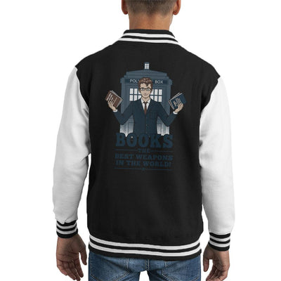 Doctor Who Books The Best Weapon In The World Kid's Varsity Jacket by Pigboom - Cloud City 7