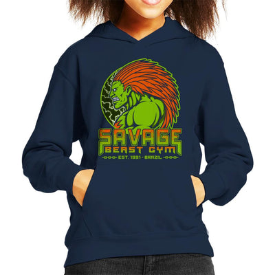 Street Fighter Savage Beast Gym Blanka Kid's Hooded Sweatshirt by Pigboom - Cloud City 7