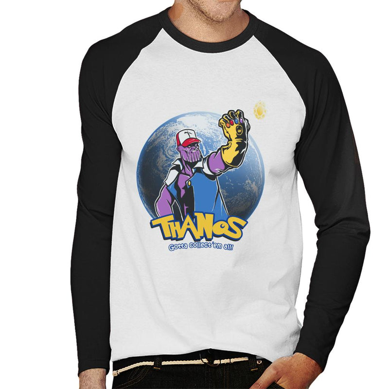 6bdf458b ... Avengers Infinity War Pokemon Thanos Mix Gotta Collect Them All Men's  Baseball Long Sleeved T- ...