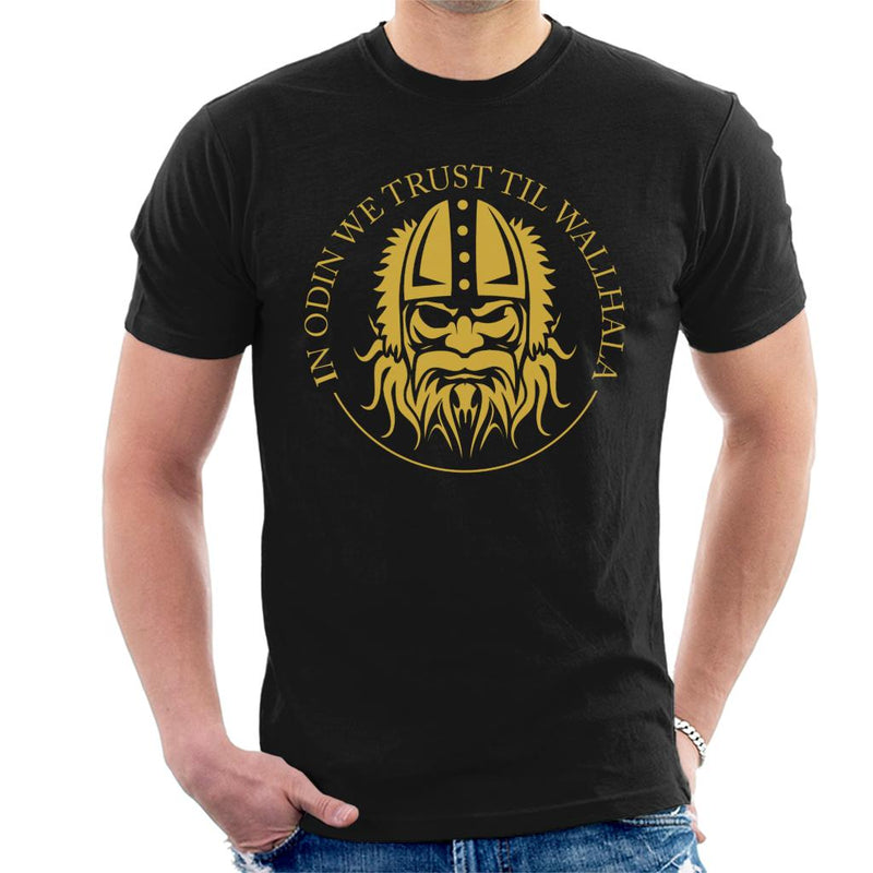 Vikings In Odin We Trust Til Wallhala Men's T-Shirt by Yolanda Martinez - Cloud City 7