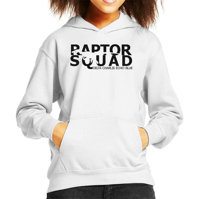Dark Text Raptor Squad Jurassic World Kid's Hooded Sweatshirt by Carlsoncore - Cloud City 7