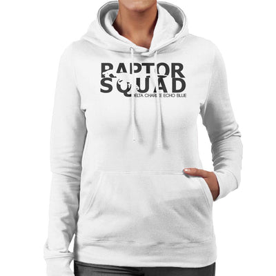 Dark Text Raptor Squad Jurassic World Women's Hooded Sweatshirt by Carlsoncore - Cloud City 7