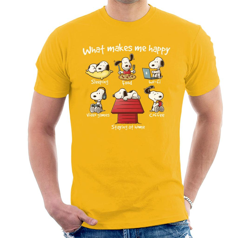 Snoopy Staying At Home Makes Me Happy Men's T-Shirt by NemiMakeit - Cloud City 7