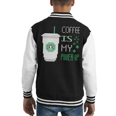Coffee Is My Power Up Kid's Varsity Jacket by Retro Freak - Cloud City 7