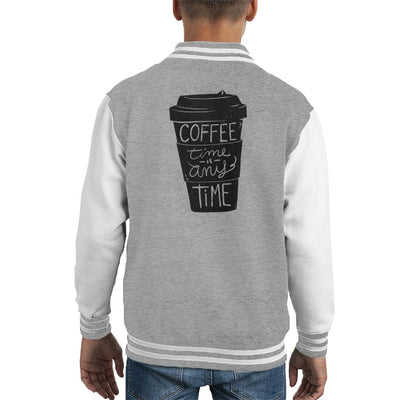 Coffee Time Is Any Time Kid's Varsity Jacket by Retro Freak - Cloud City 7