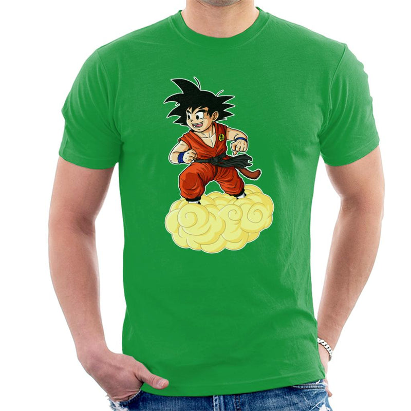 Dragon Ball Z Kid Goku On Cloud Men's T-Shirt by Sam Green - Cloud City 7