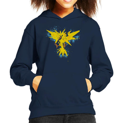 Pokemon Zapados Abstract Kid's Hooded Sweatshirt by A Robot Life - Cloud City 7