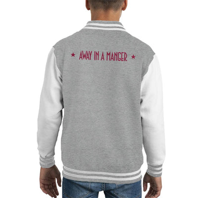 Red Text Away In A Manger Pret A Manger Christmas Kid's Varsity Jacket by Sassquatch - Cloud City 7