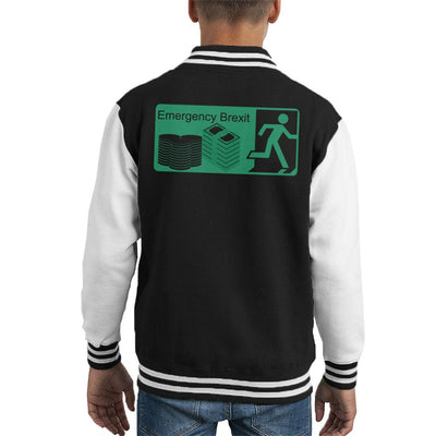 Emergency Brexit Fire Escape Sign Kid's Varsity Jacket by Sassquatch - Cloud City 7