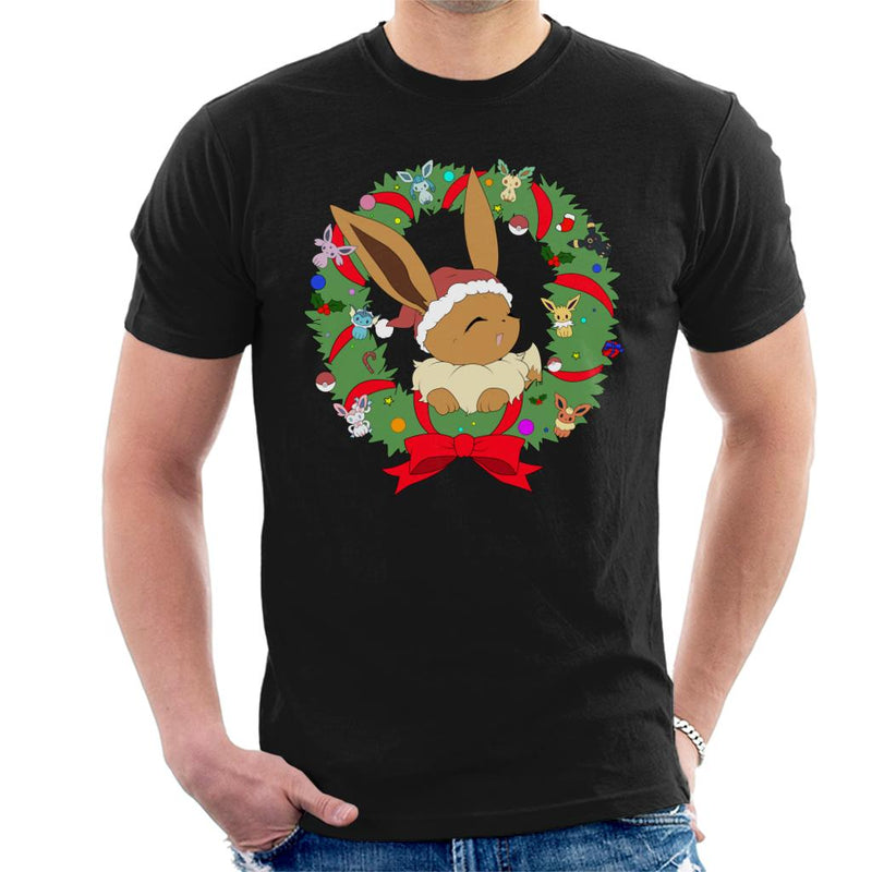 8a0b350f ... Eevee Christmas Wreath Pokemon Men's T-Shirt by Nykos - Cloud City 7 ...