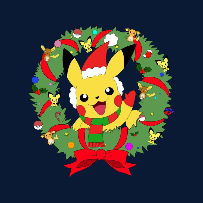 Pikachu Christmas Wreath Pokemon Women's Hooded Sweatshirt by Nykos - Cloud City 7