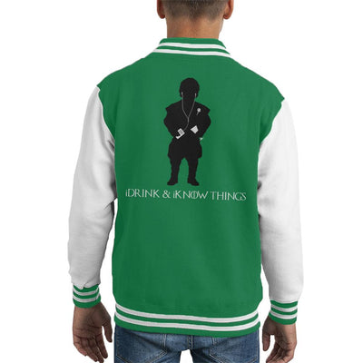 iDrink And iKnow Things iPod Game Of Thrones Kid's Varsity Jacket by Sassquatch - Cloud City 7