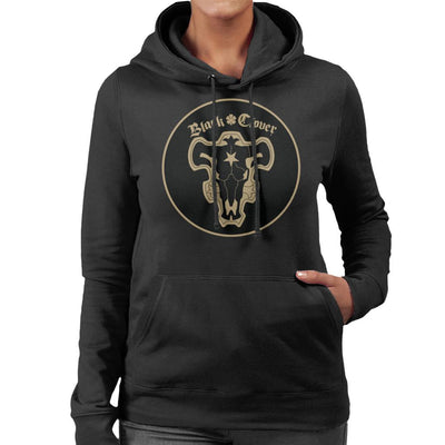 Black Clover Black Bulls Circle Logo Women's Hooded Sweatshirt by Mr.E - Cloud City 7