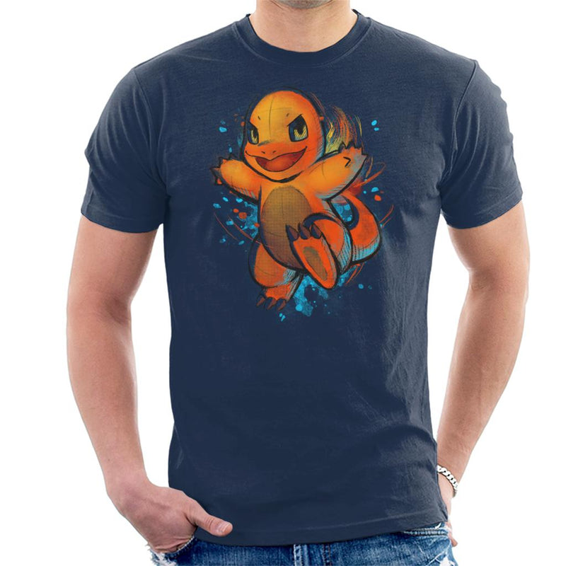 Pokemon Charmander Hand Drawn Art Men's T-Shirt by BlancaVidal - Cloud City 7
